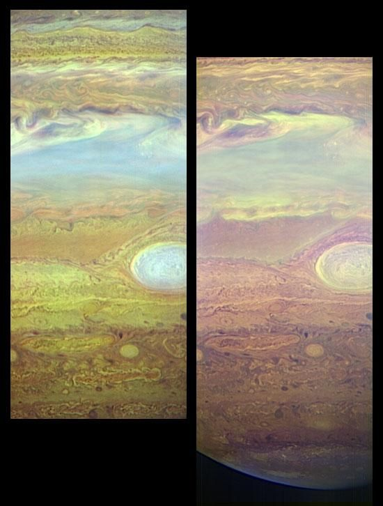 Storm Spectra (NASA New Horizons Jupiter Encounter Image) These images, taken with the LEISA infrared camera on the New Horizons Ralph instrument, show fine details in Jupiter's turbulent atmosphere using light that can only be seen using infrared sensors.