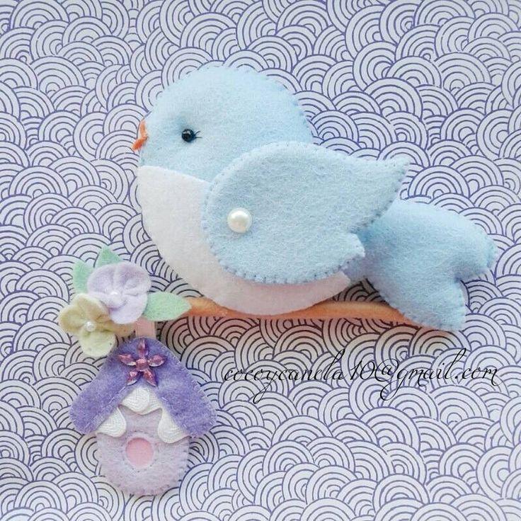Felt blue bird Passaro em feltro felt name banner