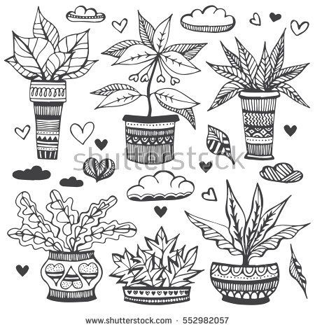 House plants doodle set. Hand drawn vector illustration, sketch collection of house plants in flowerpot. Natural design elements.