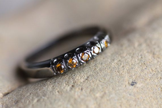 Diamond ring/Sterling Silver ring/Woman's ring/Black