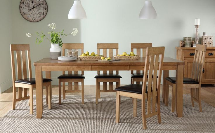 Highbury Oak Extending Dining Table and Chester Set (Brown Seat Pads). Extending oak dining table with Chester chairs. Leather Sofas |Fabric Sofas |Tub Chairs |Dining Sets |Dining Tables |Leather Dining Chairs |Oak Dining Chairs |All. | eBay!