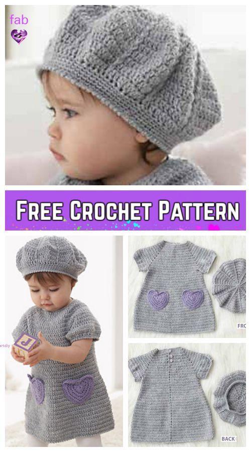 37f58b4ae Crochet Beehive Baby Dress And Hat I Heart My Dress Set - FREE ...