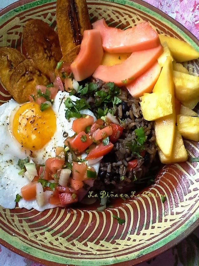 Latin American Cuisine~ Cooking Class Recipes. New Post. A typical breakfast in Costa Rica. Gallo Pinto Beans and Rice with and Egg, Plantains, Fresh Fruit, Salsa Lizano  and Sometimes a Fresh Salsa
