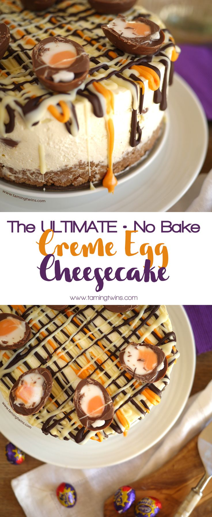 This Cadbury's Creme Egg Cheesecake Recipe (No Bake!) The ultimate Easter chocolate make. Make with Philadelphia cream cheese, whipped cream (no eggs or gelatine) this is also suitable for vegetarians. Happy Easter!