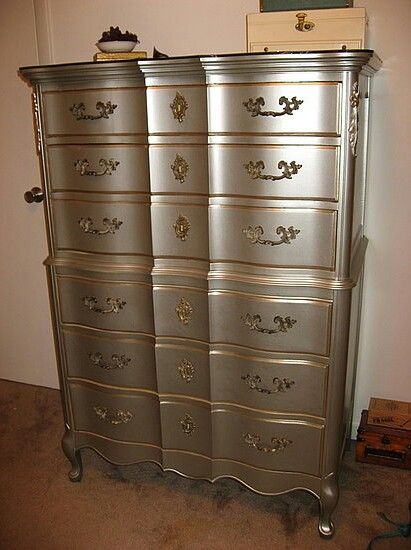 A touch of class to a drab yellow vintage french provincial high boy dresser.