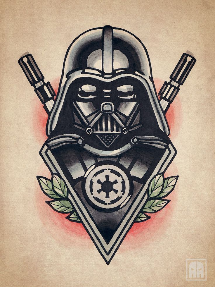 darth vader tattoo | Vader flash Traditional Star Wars Tattoo, Sevastopol Ageevtattoo, Art ...
