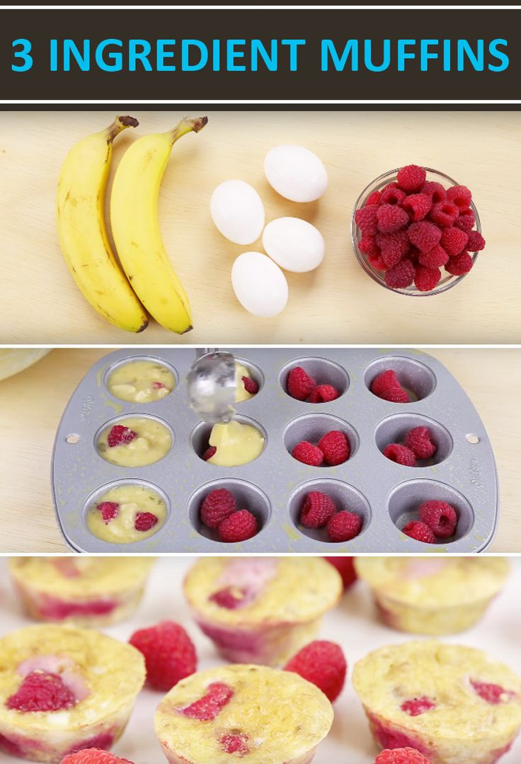 Flourless 3-Ingredient Berry Egg Muffins Recipe.  2 mashed ripe bananas, 4 eggs, and any berry of your choice in a mini muffin tin Bake at 375 for about 12 minutes