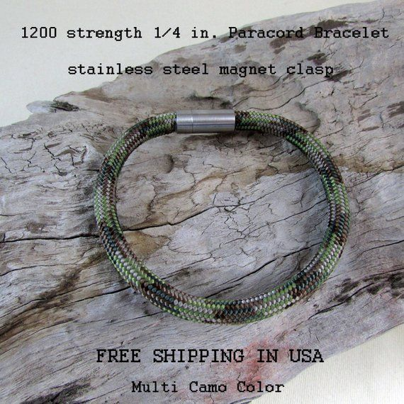Camo Paracord Rope Bracelet 1200 Lb Strength Paracord Jewelry Stainless Steel Magnet Clasp Unisex Mu Camo Paracord Rope Bracelet Camo Paracord Bracelet