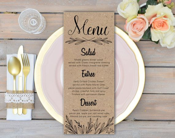 Printable Rustic Wedding Menu Cards. Size: 3.75X9 inches. If you need other size - just contact me:)  ***You are purchasing the sign in the First Photo.   •••NOTE!! ••• Digital Printable Sign - Instant Download. This is a digital print. You will receive a digital file only. No physical item will be sent. ••• Browse the GOLD GLITTER STRIPES COLLECTION ••• https://www.etsy.com/shop/FortuDesigns/search?search_query=gold+glitter+stripes  ••• Purchasing with a Credit Card through PayPal •••…