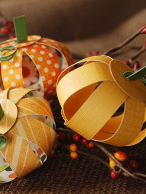 DIY Decor How-to: Paper Pumpkins Centerpiece - I've made similar ones from pop cans too but these are the prettiest I've seen!