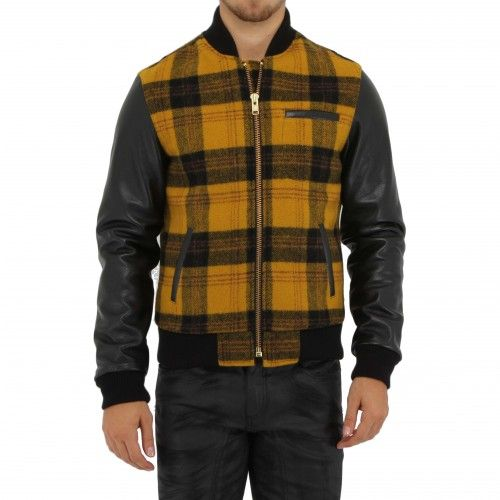Outclass Plaid Bomber Jacket. This bomber jacket is made with a Woolrich plaid body, Japanese flannel shirting lining, Japanese Bemberg sleeve lining and cowhide sleeves. The bomber features four leather trimmed flannel lined pockets, a Ykk metal zipper..