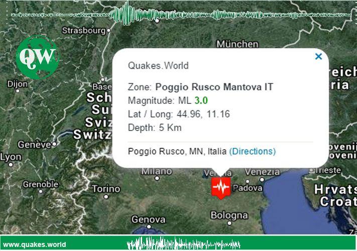 #terremoto #Mantova #PoggioRusco Un terremoto di magnitudoML3.0è avvenuto nella provincia/zonaMantova
