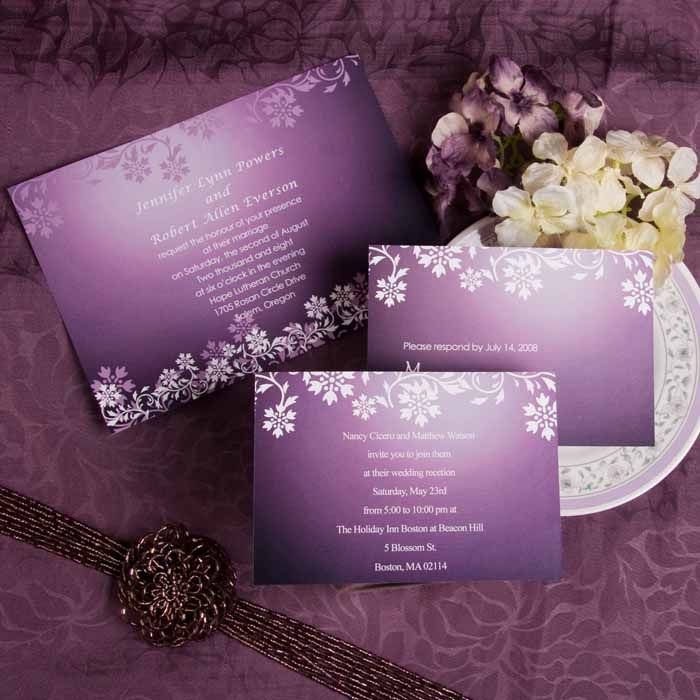 vintage western damask purple wedding invitations EWI041