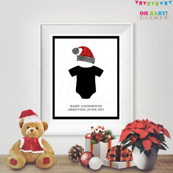 Christmas Baby Announcement Sign Onesie Baby by OhBabyShower
