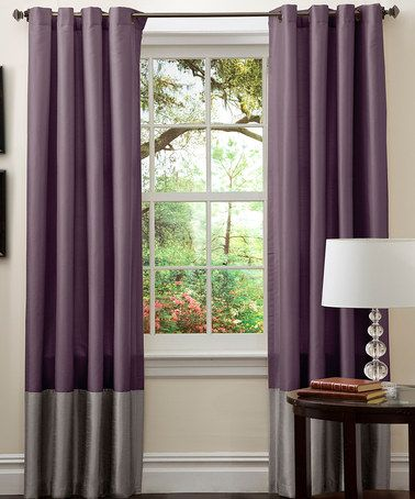 Gray & Purple Prima Window Curtain - Set of Two by Triangle Home Fashions on #zulily