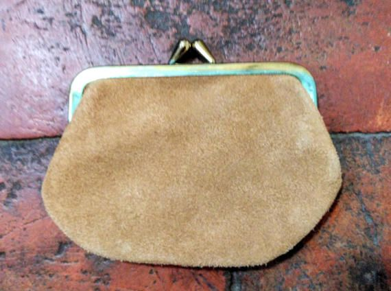 Tan Suede Retro Leather Coin Purse Pouch by MollyTops on Etsy