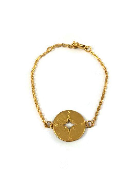 Kompas armband goud