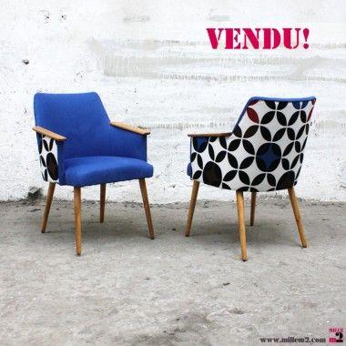 """Petit fauteuil vintage des années 60 géométrique """"cercles"""""""