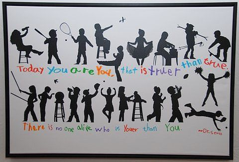 Rather than adding a series of serious silhouettes to a plain canvas, this class opted to show off its favorite activities. A photographer captured them doing their activities and transformed the images into silhouettes. The students then added one of their favorite Dr. Seuss quotes for one of the most fun auction projects out there! Source: Bear Creek Auction