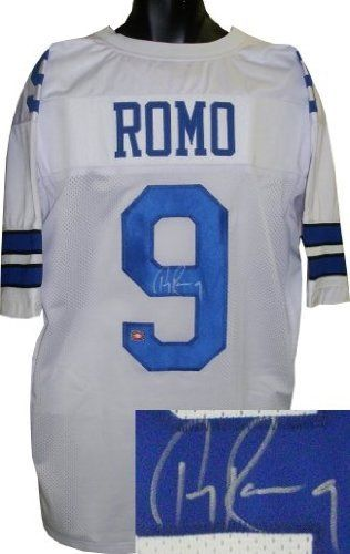 Tony Romo Autographed/Hand Signed Dallas Cowboys White Prostyle Jersey by Hall of Fame Memorabilia. $297.95. Tony Romo is the starting Quarterback for the Dallas Cowboys and has been elected to 3 Pro Bowls. He holds the Cowboys record for 300+ Passing yard games and is tied with Troy Aikman for throwing the most touchdowns (5) in a single game. He has thrown for over 15000 yards and 100 touchdowns over his career. Romo finished the 2009 season as the first quarter...