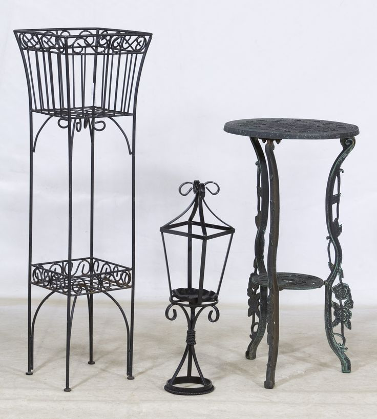 Lot 660: Metal Plant Stands; Three painted black stands