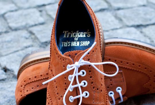 White laces, brown suede by Trickers