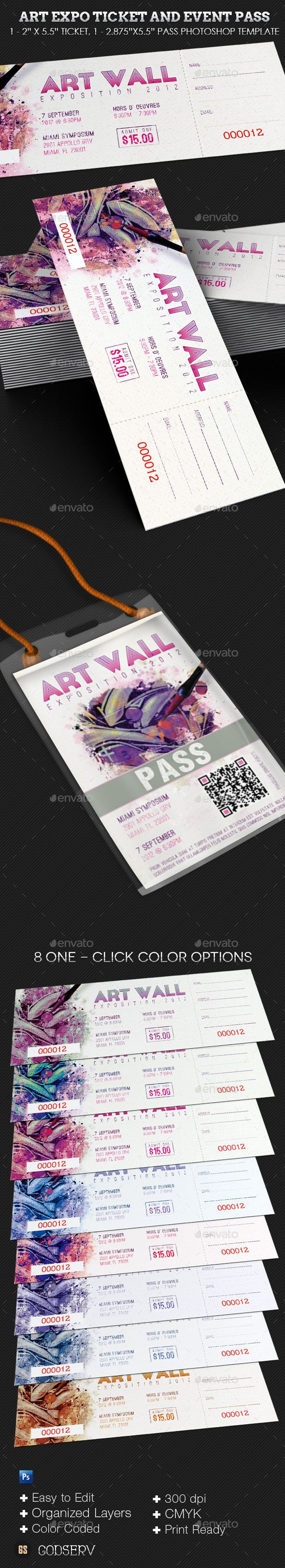 Art Expo Ticket and Event Pass Template - Miscellaneous Print Templates