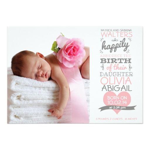Mädchen-Geburts-Mitteilung -