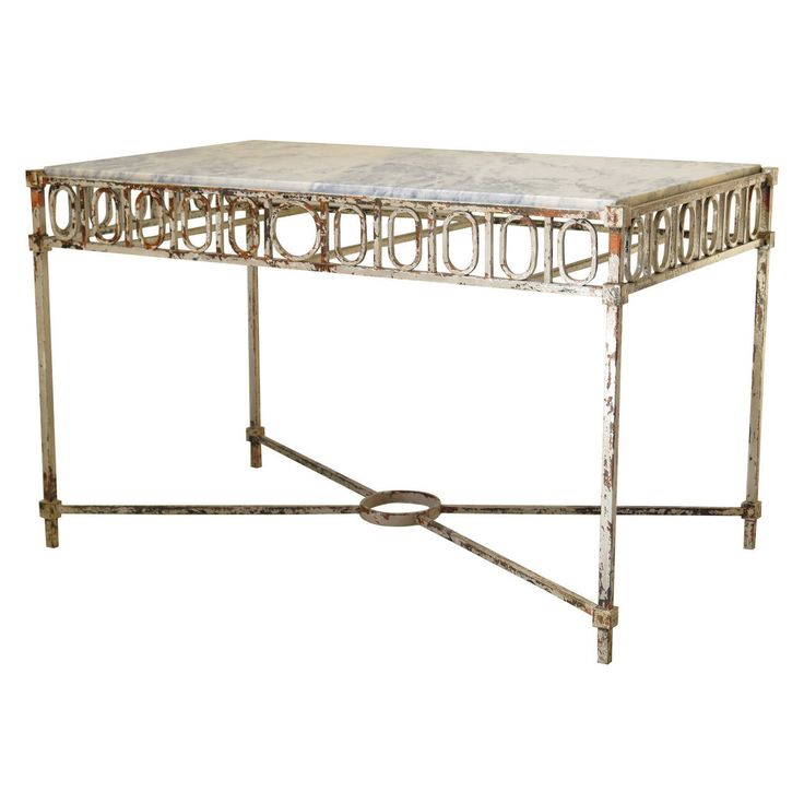 chic wrought iron and marble console table france 1940s