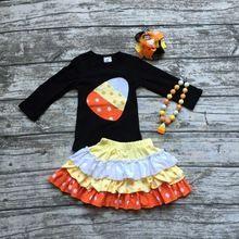 Filles vêtements halloween boutique tenues bébé filles de bonbons au maïs top avec jupes filles Halloween habits de fête avec accessoires(China (Mainland))