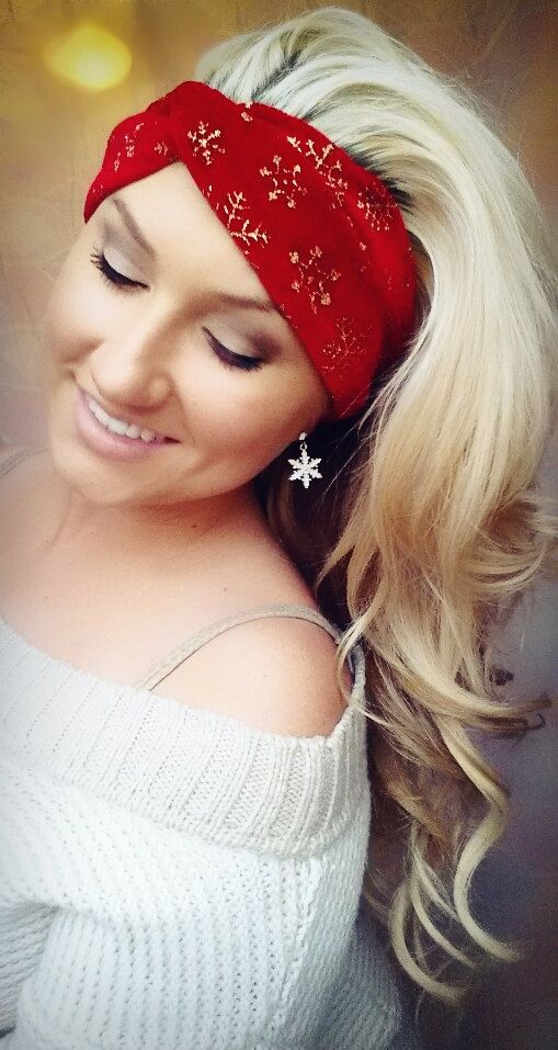 Christmas Headband Red With Gold Snowflakes Sparkles Sparkly Blonde Hair Makeup Eye Shadow Skin ...