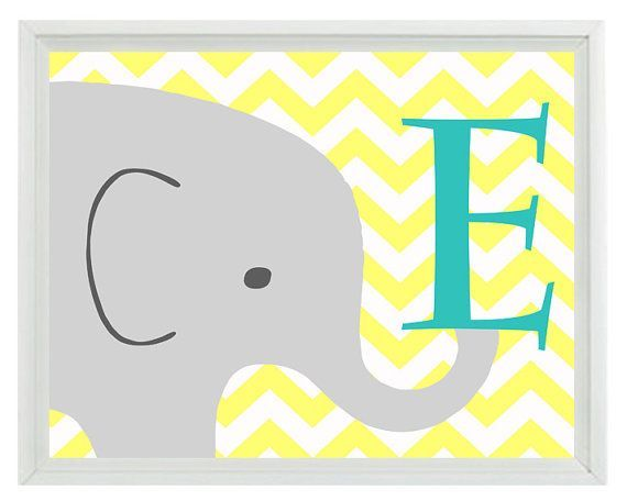 Elephant Nursery Wall Art Print - Initial Letter Chevron Yellow Gray Aqua Decor - Children Room Kid Baby  - Wall Art Home Decor 8x10 Print