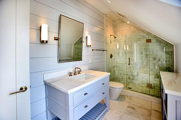 Bathroom Ideas For Low Ceilings : Planking vanity shower in attic or sloped ceiling