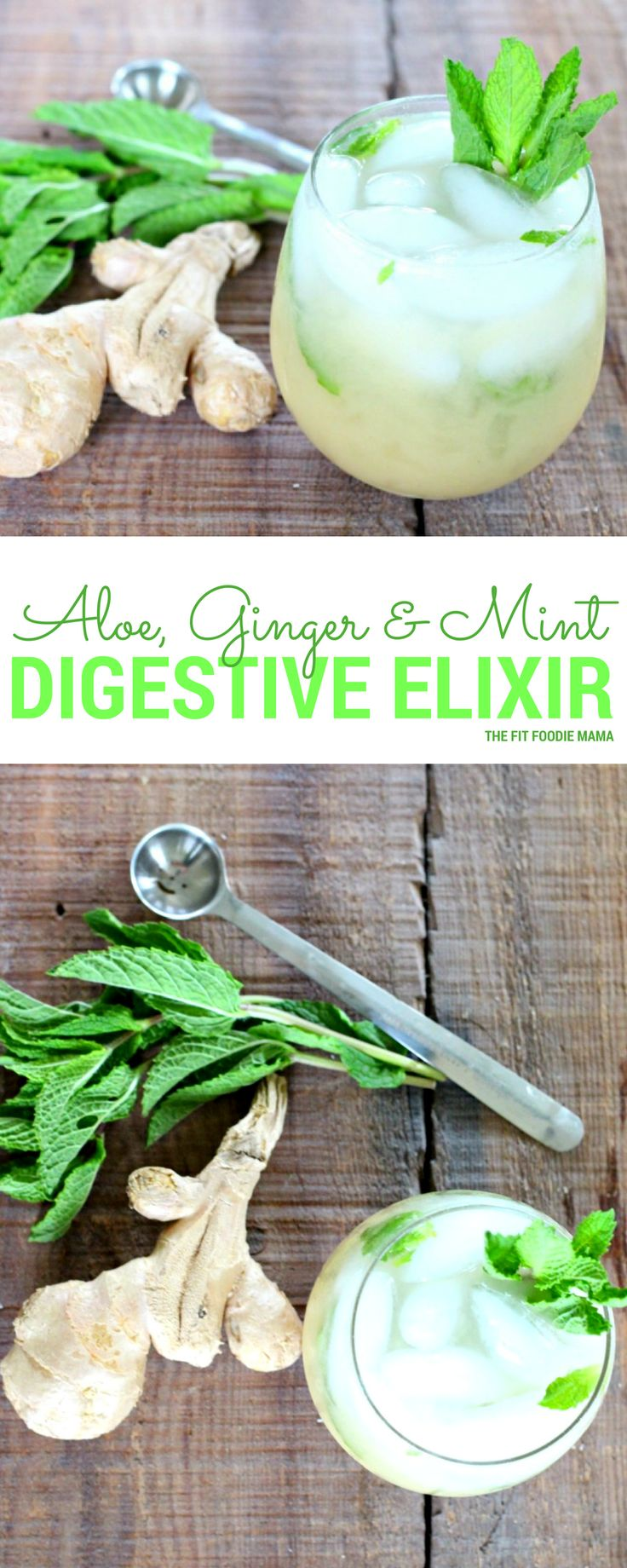 Easy belly bloat, pain and indigestion with this Aloe, Ginger & Mint Digestive Elixir {gluten free, dairy free, allergy friendly} - The Fit Foodie Mama