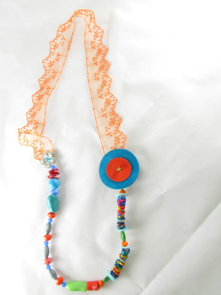 Handmade necklace with lace (1 pc)  Made with handmade silk fiber beads, leather parts, metal flower, lace, semiprecious stones and glass beads.