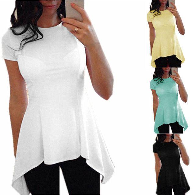 新しい夏セクシーな女性フリルブラウス不規則な裾半袖oネックペプラムウエストスリムフィットトップス2017カジュアル緩いシャツblusas