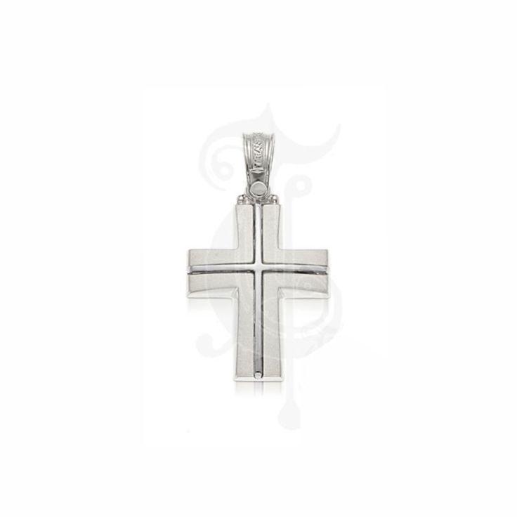 Βαπτιστικός σταυρός για αγόρι ΤΡΙΑΝΤΟΣ από λευκόχρυσο Κ14 σε ματ επιφάνεια με λεπτό γυαλιστερό ένθετο σταυρό | Σταυροί βάπτισης ΤΣΑΛΔΑΡΗΣ Χαλάνδρι #βαπτιστικός #σταυρός #βάπτισης #Τριάντος #αγόρι