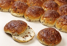 "krentenbol (raisin bun), usually served w/ chese on it. (If a bun was scarce of raisins, m tante would say (in Dutch): ""You have to ride your bike from raisin to raisin!"""