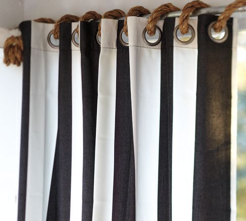 I love this idea to use natural fiber rope i/o traditional curtain clips/rings    Summery Idea: Loop rope through grommet panels
