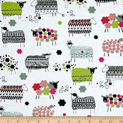 Colorful Sheep Fabric on White Background Ink and Arrow