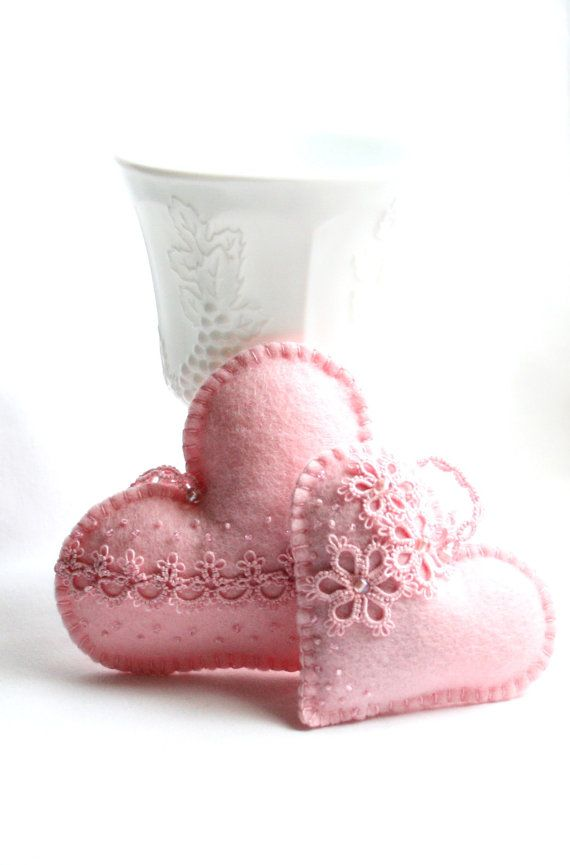Heart Lavender Pink Lace Tatting Lace Heart Felt ♡ by KnotTherapy