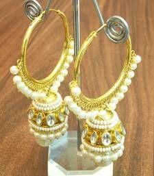 Elegant micro plating kundan jhumki earring