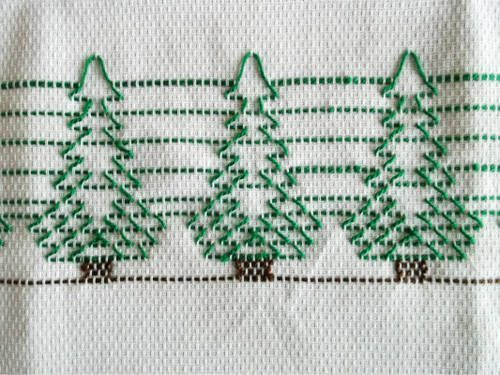 Huck embroidered Christmas trees: