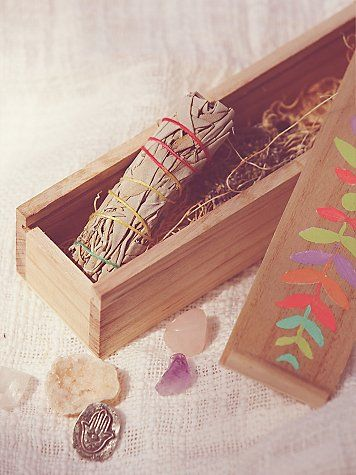 Bright Mystical Box | This hand painted wooden box comes with all the spirituality essentials: crystals, sage, lavender, and a coin. *By Catherine
