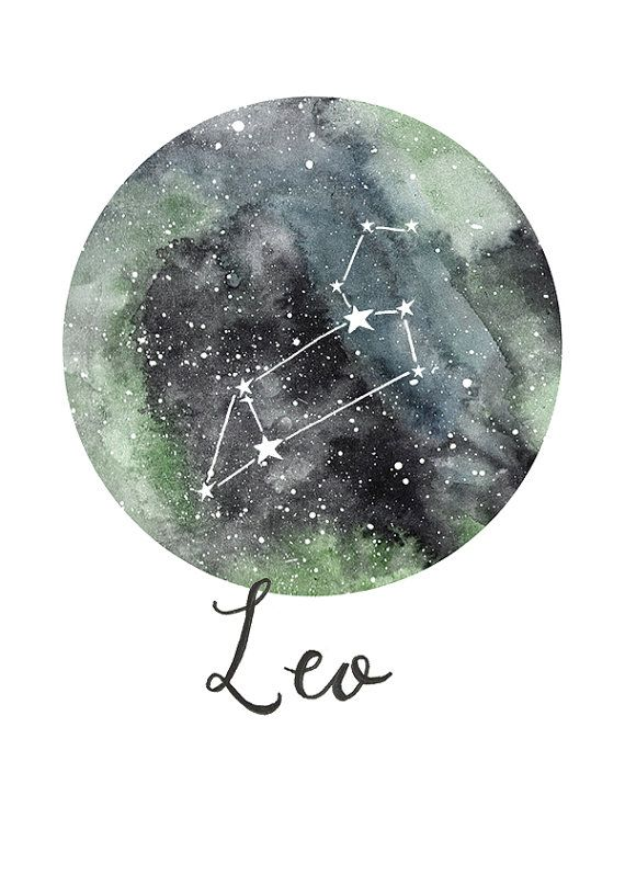 TITLE: Leo - Zodiac Constellations SIZE: 7x5 - Unframed art print of my original painting.  All prints are signed on the back and are carefully packed in a clear sleeve and a hard backed envelope to ensure it arrives in pristine condition. Artwork © Sarah Frances.