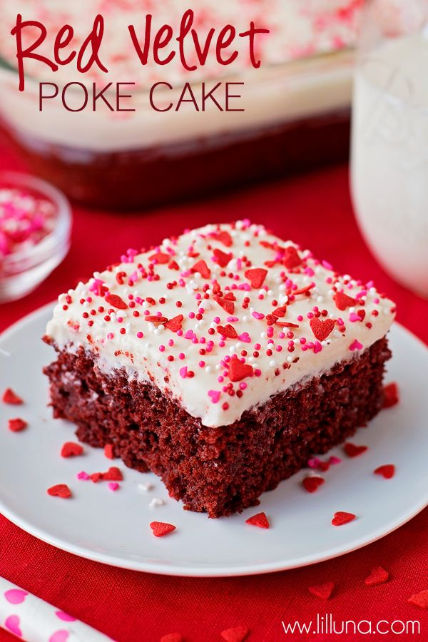 Delicious Red Velvet Poke Cake with homemade Cream Cheese Frosting { lilluna.com }