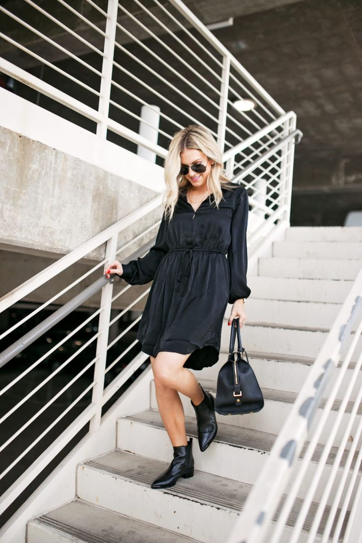 Dress for Work & Play | Chronicles of Frivolity, all black for work, black dress for work, black booties for fall, all black outfit inspiration