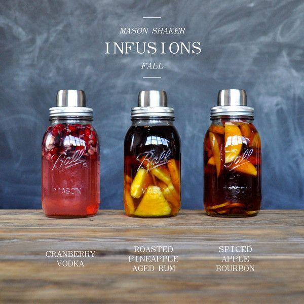Mason Shaker Fall Infusions – The Mason Shaker. Awesome Idea, I am obsessed with the idea of infusing my own spirits lately.