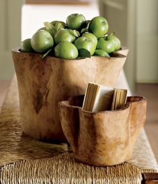 .: Trees Trunks, Wooden Bowls, Hands Carvings, Carvings Woods, Wooden Decor, Living Rooms Accessories, Woods Bowls, Natural Wood, Pottery Barns