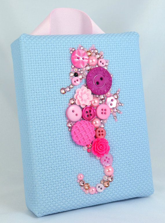 Button Art, Painted With Buttons  Pink Seahorse - Button Art, Vintage Buttons by PaintedWithButtons, $45.00